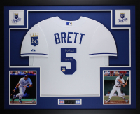 "George Brett Signed Kansas City Royals 35x43 Custom Framed Jersey Inscribed ""HOF 99"" (Fanatics & MLB Holgoram) at PristineAuction.com"