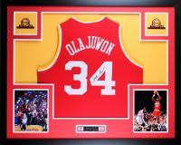 Hakeem Olajuwon Signed 35x43 Custom Framed Jersey (JSA COA) at PristineAuction.com