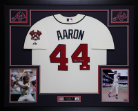 Hank Aaron Signed Atlanta Braves 35x43 Custom Framed Jersey (JSA COA) at PristineAuction.com