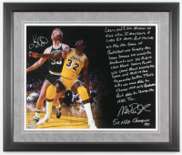 Larry Bird & Magic Johnson Signed 22x26 Custom Framed Photo with Extensive Inscription (Steiner COA) at PristineAuction.com