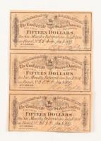 Uncut Set of (3) 1864 $15 Fifteen Dollars Confederate States of America Richmond CSA Bank Note Bond