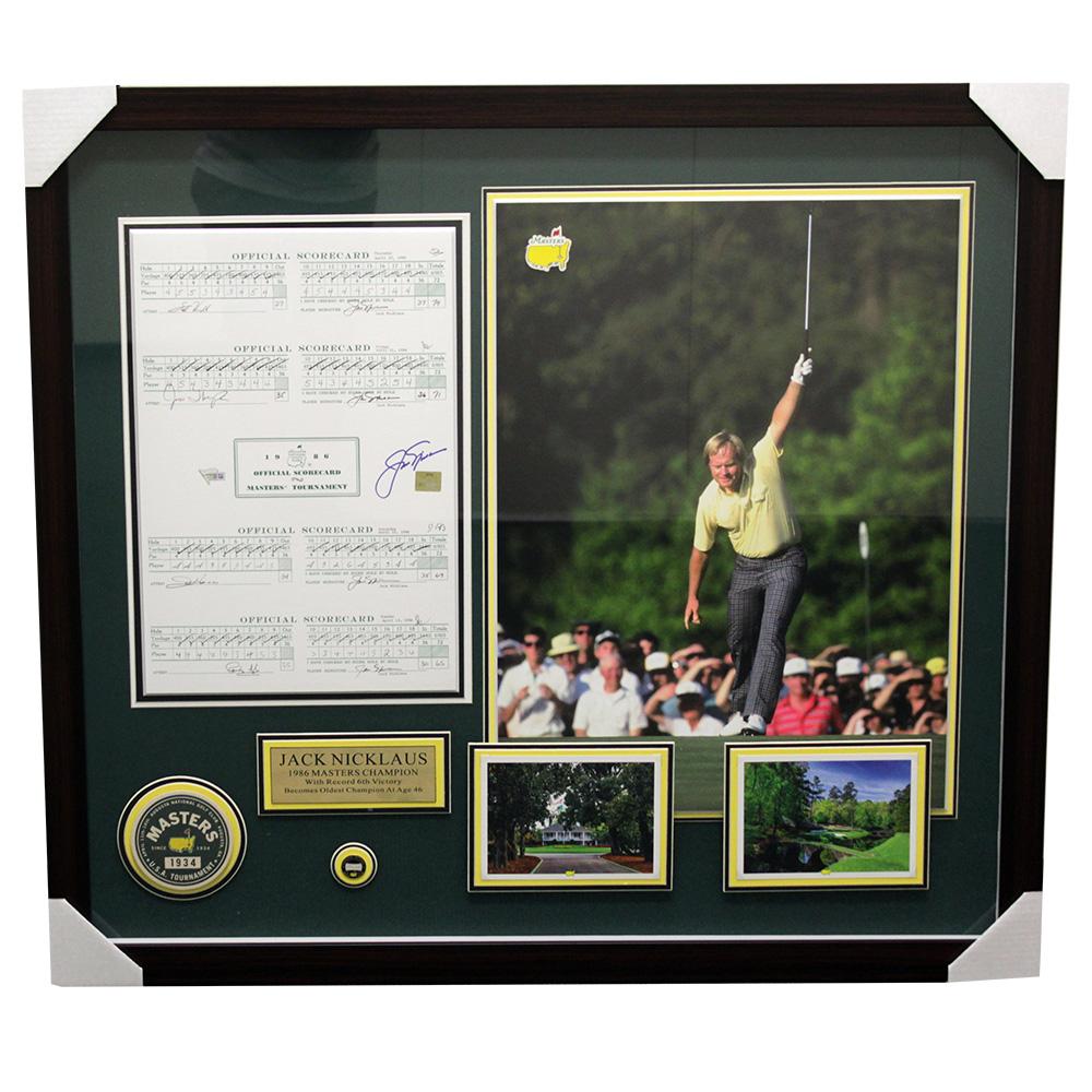 Jack Nicklaus Signed 35x39 Custom Framed Scorecard Shadowbox Display (Fanatics Hologram) at PristineAuction.com