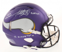 """Adrian Peterson Signed Minnesota Vikings Matte Purple Full-Size Authentic On-Field Speed Helmet Inscribed """"2012 NFL MVP"""", """"2097 Yds"""" & """"12 Rusing TD's"""" (Beckett COA) at PristineAuction.com"""