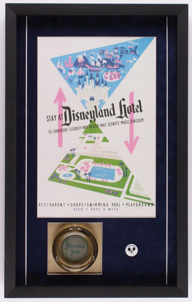Disneyland Hotel 16.5x26.5x2 Custom Framed Shadowbox Poster Print Display with Ashtray & Employee Pin at PristineAuction.com