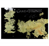 """Jerome Flynn Signed """"Game of Thrones"""" 24x36 Westeros Map Inscribed """"Bronn"""" (Radtke COA) at PristineAuction.com"""