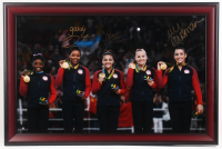 Gabby Douglas, Aly Raisman & Laurie Hernandez Signed 2016 Summer Olympics 23x35 Custom Framed Photo (Steiner COA) at PristineAuction.com