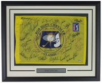 PGA Tour 21x27 Custom Frame Golf Pin Flag Signed by (31) with Phil Mickelson, Jack Nicklaus, Justin Leonard, Fred Couples, Ben Crenshaw, David Dual, Arnold Palmer (Beckett LOA)