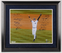 New York Yankees World Series MVP 23.5x27.5 LE Custom Framed Photo Display Signed by (11) with Derek Jeter, Whitey Ford, Bucky Dent, Reggie Jackson, Don Larsen with Multiple Inscriptions (Steiner COA & MLB Hologram) at PristineAuction.com