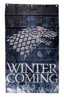 "Isaac Hempstead Wright Signed ""Game Thrones"" 30x50 Winter is Coming Banner Inscribed ""Three-Eyed Raven"" (Radtke COA) at PristineAuction.com"