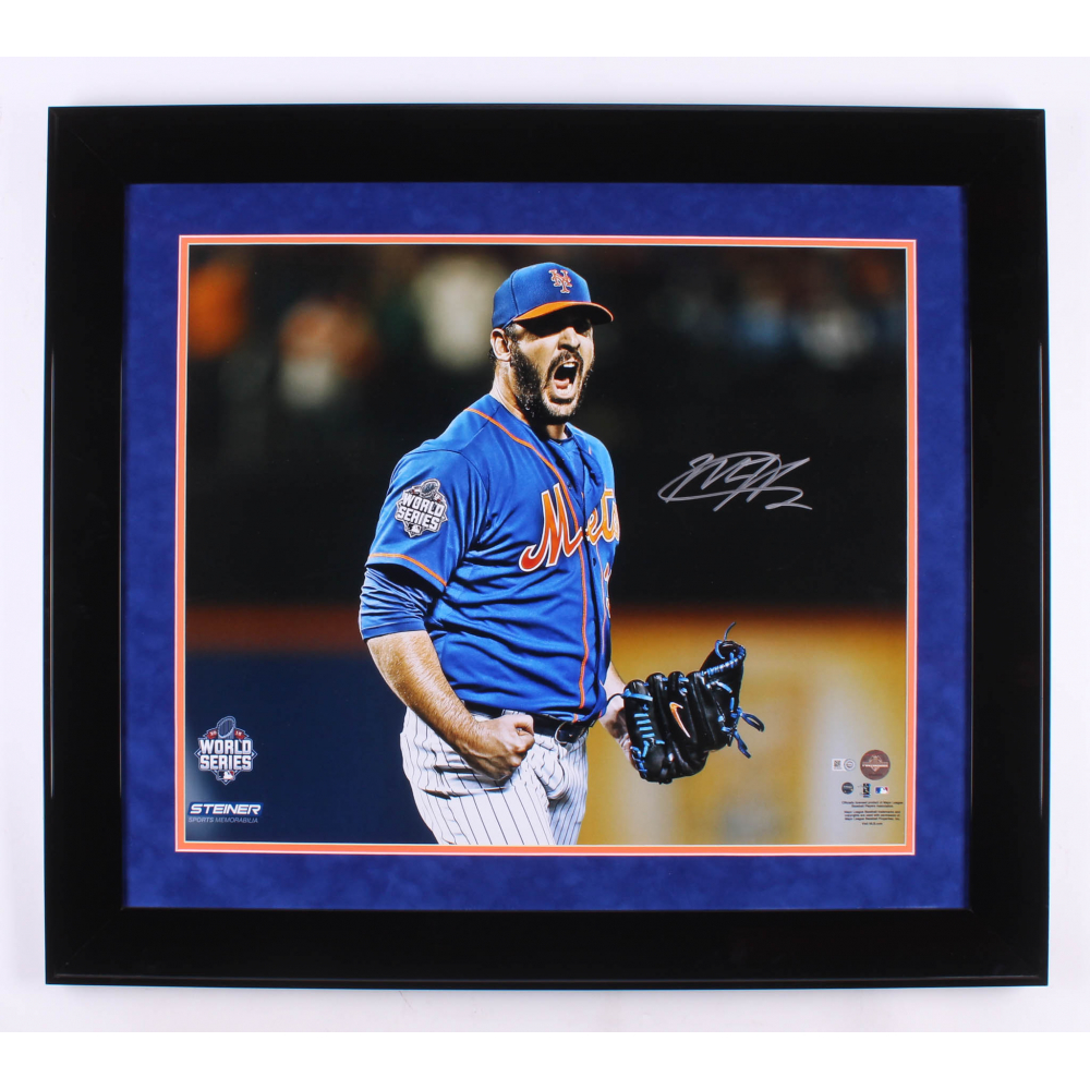 18x22 Steiner Sports MLB New York Mets Matt Harvey and Doc Gooden Home Grown Aces Jose Lopez Design Framed Igned Collage