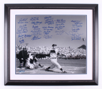 New York Yankees LE 27.5x31.75 Custom Framed Photo Signed by (25) with Reggie Jackson, Joe Torre, Dave Winfield, Mariano Rivera, Whitey Ford with Multiple Inscriptions (Steiner COA & MLB Hologram) at PristineAuction.com