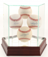 Lot of (4) OAL & OML Baseballs Signed by Mickey Mantle, Whitey Ford, Yogi Berra, & Phil Ruzzuto with Display Case (JSA COA, PSA COA, & MLB Hologram)