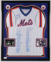 34x42.5 Custom Framed Jersey Display Team-Signed by (33) with Davey Johnson, Gary Carter, Ray Knight, Darryl Strawberry, Bill Robinson (PSA LOA) at PristineAuction.com