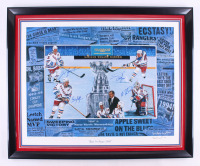"""""""Rest in Peace 1940"""" New York Rangers 30.5x37.5 Custom Framed Lithograph Display Signed By (4) with Brian Leetch, Adam Graves, Mike Richter, & Mark Messier (Steiner Hologram)"""
