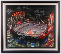Met Life Stadium LE 31x35 Custom Framed Canvas Display Signed by (4) with Tom Brady, Terry Bradshaw, Joe Montana, & Eli Manning (Steiner Hologram & Tristar Hologram) at PristineAuction.com