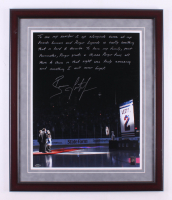 Brian Leetch Signed New York Rangers 22x26 Custom Framed Photo Display with Extensive Inscription (Steiner COA)