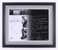 Eddie Giacomin Signed Detroit Red Wings 22.5x26.5 Custom Framed Photo Display with Extensive Inscription (Steiner COA) at PristineAuction.com