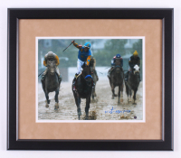 "Victor Espinoza Signed ""2015 Preakness"" 18x21 Custom Framed Photo Display (Steiner COA)"