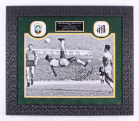 Pele Signed Brazil 24.5x28 Custom Framed Photo Display (Steiner COA)