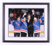"""""""Stanley Cup Champions"""" 22x26 Custom Framed Photo Display Signed by (4) With Mark Messier, Eddie Giacomin, Rod Gilbert & Mike Richter with Multiple Inscriptions (Steiner COA)"""