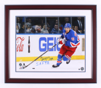 """Pavel Buchnevich Signed New York Rangers 22x26 Custom Framed Photo Display Inscribed """"S.A.F.T.B."""" (Steiner Hologram)"""