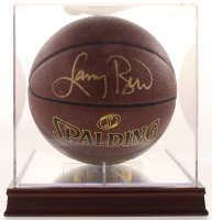 Larry Bird Signed NBA Basketball with Display Wood Base Case (PSA COA)