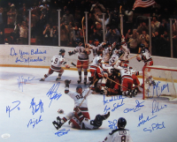 """""""Miracle on Ice"""" Team USA 16x20 Photo Team-Signed by (13) with Mike Eruzione, Jim Craig, Buzz Schneider, Ken Morrow Inscribed """"Do You Believe in Miracles?"""" (JSA COA)"""