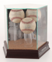 Lot of (3) OML Game-Used Baseballs Signed By Mariano Rivera, Derek Jeter, & Andy Pettitte with Display Case (Steiner COA & MLB Hologram)