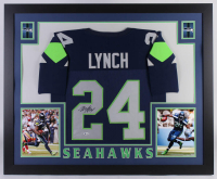 Marshawn Lynch Signed 35x43 Custom Framed Jersey (Beckett COA)