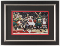 Michael Jordan Signed Chicago Bulls 13.5x17.5 Custom Framed Print Display (UDA COA) at PristineAuction.com
