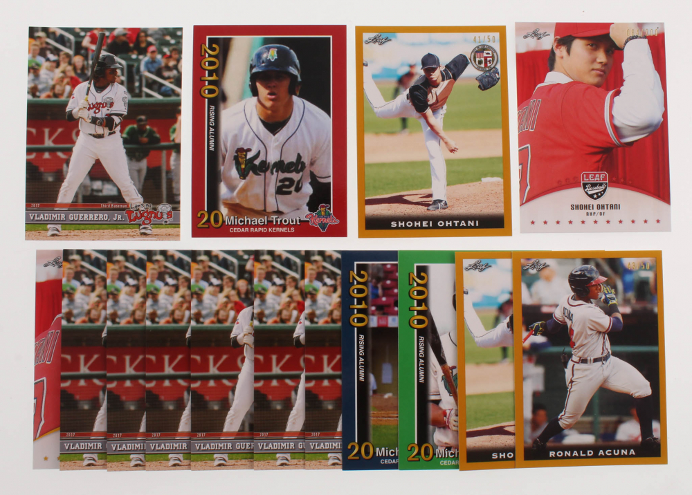 Lot of (15) Baseball Rookie Cards with 3 Mike Trout Rookies, Shohei Ohtani, Vladimir Guerrero, Ronald Acuna at PristineAuction.com