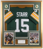 "Bart Starr Signed Green Bay Packers 32x36 Custom Framed Cut Inscribed ""Best Wishes"" (JSA COA)"