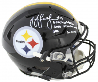 "JuJu Smith-Schuster Signed Pittsburgh Steelers Full-Size Authentic On-Field SpeedFlex Helmet Inscribed ""Steelers Nation"", ""2018 Steelers MVP"" & ""2018 Pro Bowl"" (Beckett COA) at PristineAuction.com"