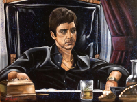 "Bill Lopa Signed ""Scarface"" Limited Edition 30x40 Hand-Embellished Giclee on Canvas (PA LOA)"