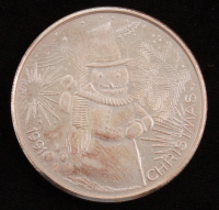 """1 Troy Ounce .999 Fine Silver 1991 """"Christmas"""" Round at PristineAuction.com"""