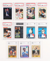 Lot of (11) Graded Baseball Cards with 1989 Donruss #33 Ken Griffey Jr. RR RC (BCCG 9),  2010 Topps Logoman HTA #5 Babe Ruth (BCCG 10), 1994 Upper Deck #19 Michael Jordan RC (BGS 9)
