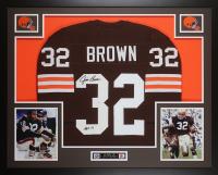 Jim Brown Signed Cleveland Browns 35x43 Custom Framed Jersey (JSA COA)
