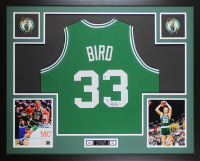 Larry Bird Signed 35x43 Custom Framed Jersey (Beckett COA & Bird Hologram) at PristineAuction.com