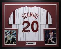 """Mike Schmidt Signed 35x43 Custom Framed Jersey Inscribed """"HOF 95"""" (Fanatics Hologram & MLB Hologram)"""