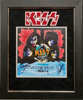 """""""KISS"""" 19x23 Custom Framed Concert Poster Display Signed by (4) with Gene Simmons, Paul Stanley, Tommy Thayer & Eric Singer (JSA LOA)"""
