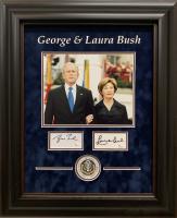 George W. Bush & Laura Bush Signed 19x23 Custom Framed Cut Display (JSA COA)
