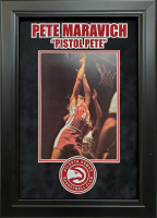 """Pistol"" Pete Maravich Signed Atlanta Hawks 15.5x21.5 Custom Framed Photo Display (JSA LOA)"