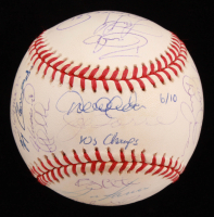 2000 New York Yankees LE Team-Signed 2000 World Series Baseball by (28) with Derek Jeter, Mariano Rivera, Andy Pettitte, Bernie Williams, Roger Clemens, Joe Torre (Steiner COA)