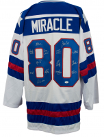 Hockey Jersey Team-Signed by (14) with Mike Eruzione, Jim Craig, Craig Patrick, Dave Silk (JSA COA)
