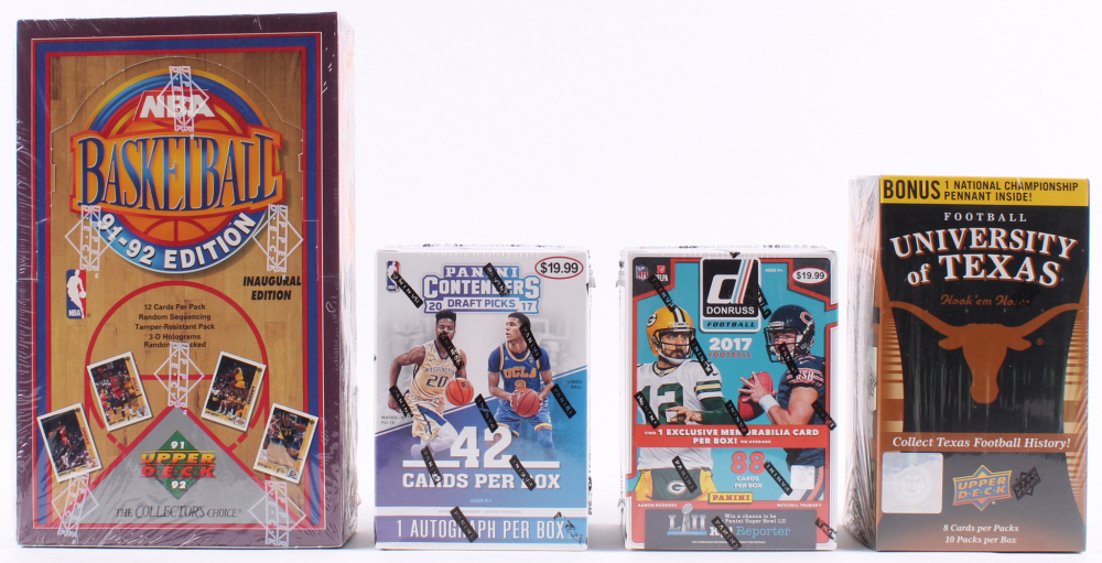 Lot of (4) Card Box Sets with 2011 Upper Deck University of Texas Longhorns Blaster Box, 2017 Panini Donruss Football Box Set, 1991-92 Upper Deck NBA Basketball Inaugural Edition Box, & 2017 Panini Contenders Draft Picks Basketball Box at PristineAuction.com
