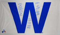 "LE 2016 Chicago Cubs 36x60 ""W"" Win Flag Team-Signed by (20) with Kris Bryant, David Ross, Ben Zobrist, Anthony Rizzo, Kyle Schwarber (Fanatics Hologram & MLB Hologram)"