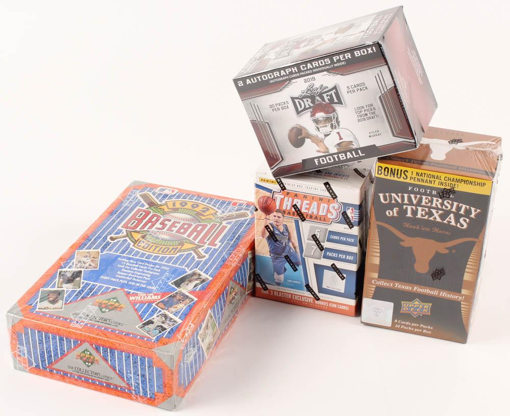 Lot of (4) Card Box Sets with 1992 Upper Deck Baseball Box, 2011 Upper Deck University of Texas Football Box, 2019 Leaf Draft Football Box & 2018-19 Panini Threads Basketball Box at PristineAuction.com