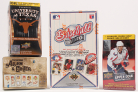 Lot of (4) Unopened Card Boxes with 1991 Upper Deck Baseball, 2018 Topps Allen & Ginter Baseball, 2011 Upper Deck University of Texas Longhorns Football, 2015-16 Upper Deck Series 2 Hockey