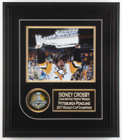 Sidney Crosby Signed Pittsburgh Penguins 1.75x16x20 Custom Framed Photo Display With Puck (Frameworth COA)