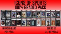 """""""ICONS OF SPORTS"""" 100% ALL GRADED/AUTHENTICATED Mystery Box Packs Series 12 at PristineAuction.com"""